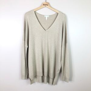 Leith l Pullover Sweater Long Sleeve V-Neck Knit L